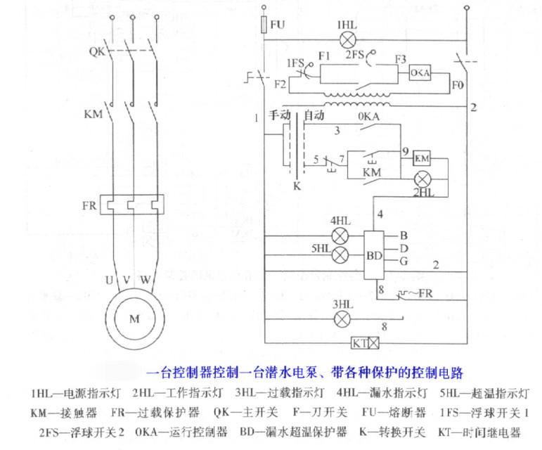 台潜水泵控制工作方式以及接线电路