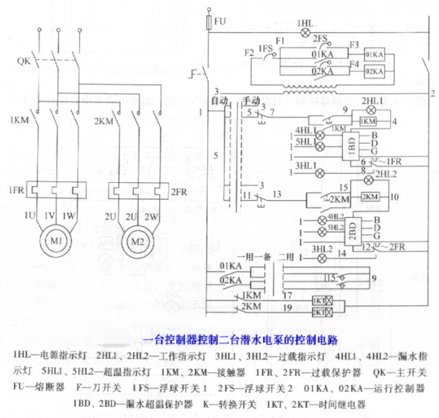 一台控制器控制多台潜水泵接线电路